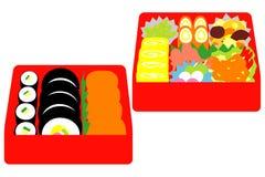 Японский обед коробки, обед пикника бесплатная иллюстрация