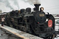 Японский локомотив пара в зиме Стоковое Изображение