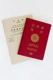 Японский пасспорт и международные водительские права Стоковая Фотография