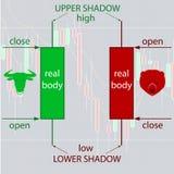 Японский подсвечник составляя схему основам для валют и бинарного варианта Стоковое Изображение