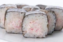 Японский ресторан еды, плита крена maki суш gunkan или комплект диска Комплект и состав суш Стоковые Изображения