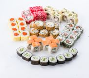 Японский ресторан еды, плита крена maki суш gunkan или комплект диска Комплект и состав суш Стоковое Фото