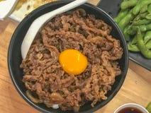 Японский рис говядины гриля, Yakiniku Дон, Gyuu Дон Стоковые Изображения RF