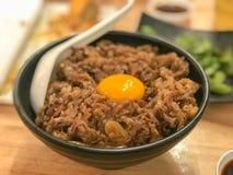 Японский рис говядины гриля, Yakiniku Дон, Gyuu Дон Стоковые Фото
