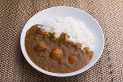 Японский рис карри еды Стоковые Фотографии RF