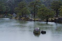 Японский сад в дожде Стоковые Фото