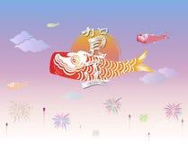 Японский счастливый дизайн плаката или открытки Нового Года & etc иллюстрация штока