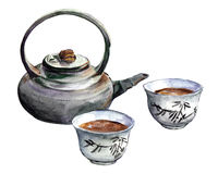японский чай Комплект традиционных восточных чайника и чашек Стоковое Изображение