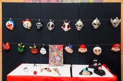 Японский шарж и традиционные фольклорные маски и другое характера стоковые изображения rf