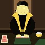 Японский шеф-повар делает суши Стоковая Фотография