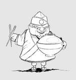 Японский шеф-повар с блюдами подписи. Freehand Д-р Стоковое Изображение