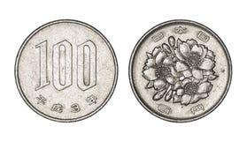 100 японских иен чеканят, фронт и задние стороны Стоковые Фотографии RF