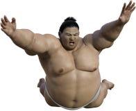 Японское изолированное нападение борца Sumo, Япония Стоковая Фотография RF