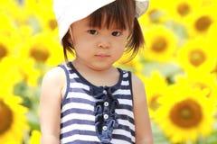 Японское поле девушки и солнцецвета Стоковая Фотография RF