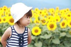 Японское поле девушки и солнцецвета Стоковая Фотография