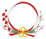 Японское традиционное цветение, красный цвет и белизна Венок-сливы Стоковые Изображения RF
