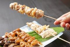 Японское yakitori BBQ цыпленка Стоковые Изображения RF