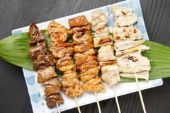 Японское yakitori BBQ цыпленка Стоковые Изображения