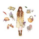 Японской детали стиля моды женщин установленной нарисованные рукой Стоковое фото RF