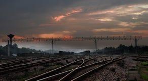 Ярд поезда выстраивая Стоковое Изображение