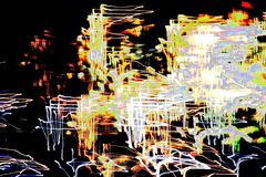 Яркая абстрактная картина в линиях и пятнах цвета различных на черноте Стоковые Фотографии RF