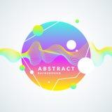 Яркая абстрактная предпосылка с динамические волны, выплеск и вокруг в минималистичном стиле также вектор иллюстрации притяжки co иллюстрация штока