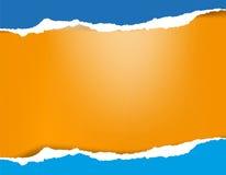Яркая лазурная голубая сорванная бумажная предпосылка с тенью Стоковые Фото