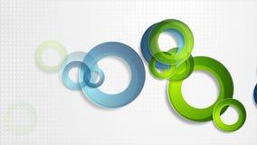 Яркая анимация голубых и зеленых колец техника видео- иллюстрация вектора