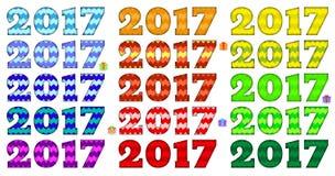 Яркая дата 2017, родственные цвета, картина зигзага элементы конструкции предпосылки 4 снежинки белой вектор Стоковая Фотография