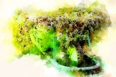 Яркая ая-зелен тачка с пуком цветков весны и мягко запачканной предпосылки акварели Стоковые Изображения