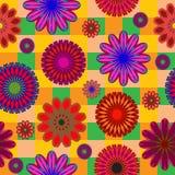 Яркая безшовная картина абстрактных цветов на checkered предпосылке бесплатная иллюстрация