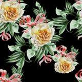 Яркая безшовная картина с розами и листьями изображение иллюстрации летания клюва декоративное своя бумажная акварель ласточки ча стоковые фото