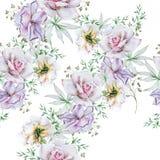 Яркая безшовная картина с цветками Поднял изображение иллюстрации летания клюва декоративное своя бумажная акварель ласточки част стоковое фото