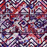 Яркая безшовная картина текстура акварели Этнический и племенной Стоковое Изображение