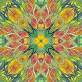 Яркая безшовная красочная этичная индийская картина Коллаж с ручной работы акварелью закрывает, лепестки, цветки листьев Стиль ба Стоковое Изображение RF