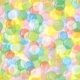 Яркая безшовная предпосылка с воздушными шарами, кругами, пузырями Праздничная, радостная, абстрактная картина Для поздравительны Стоковое фото RF