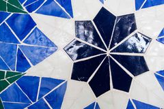 Яркая голубая предпосылка калейдоскопа Покрашенная геометрическая картина стоковая фотография
