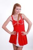 Яркая девушка в красном платье Стоковая Фотография RF