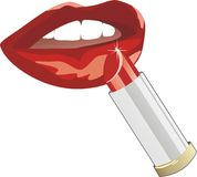 яркая женская усмешка губной помады Стоковая Фотография RF
