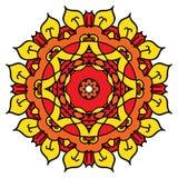 Яркая желтая мандала вектора Изолированный вокруг элемента Стоковые Фото