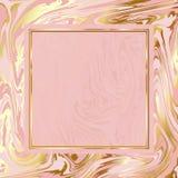 Яркая имитация текстуры вектора мраморной бумаги, бледный розовый пинк и предпосылка золота, элегантная золотая рамка Стоковые Изображения