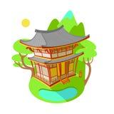 Яркая иллюстрация вектора плоская Азиатская традиционная архитектура Здание в горах и озерах Стоковое Фото