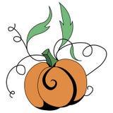 Яркая иллюстрация тыквы с листьями Стоковое Изображение RF