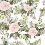 Яркая картина акварели с цветками розы и лилии Стоковое Изображение RF