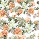 Яркая картина акварели с цветками розы и succulent С листьями и папоротником Стоковое Изображение