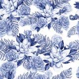 Яркая картина акварели с цветками розы и succulent С листьями и папоротником Стоковые Фотографии RF