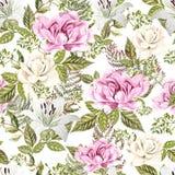 Яркая картина акварели с цветками розы, лилии и пиона С листьями и папоротником Стоковое фото RF