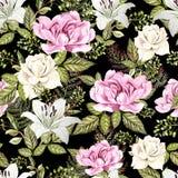Яркая картина акварели с цветками розы, лилии и пиона С листьями и папоротником Стоковые Изображения RF