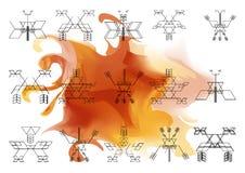 Яркая картина священной предпосылки onwatercolor геометрии Стоковые Изображения RF