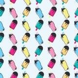 Яркая картина стиля цвета с мороженым и коктеилем Стоковое фото RF